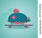 slow but fast.turtle and snail... | Shutterstock .eps vector #257076154