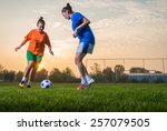 two female soccer players on... | Shutterstock . vector #257079505