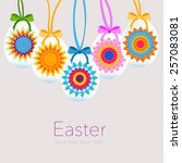 hanging easter eggs with... | Shutterstock .eps vector #257083081