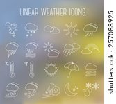 set of linear weather icons  on ...
