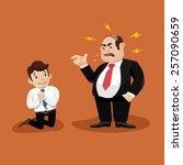 boss screams on worker   Shutterstock .eps vector #257090659