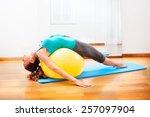 teacher making body exercises... | Shutterstock . vector #257097904