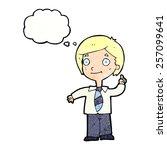 cartoon school boy answering...   Shutterstock .eps vector #257099641