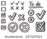 set of hand drawn graphic... | Shutterstock .eps vector #257107021