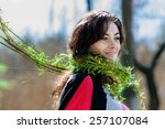 the beautiful girl in the... | Shutterstock . vector #257107084