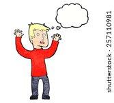 cartoon terrified man with... | Shutterstock .eps vector #257110981