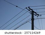 sketch of an electricity pole... | Shutterstock . vector #257114269