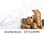 chart and coins on white... | Shutterstock . vector #257115094