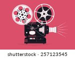 cool retro movie projector with ... | Shutterstock .eps vector #257123545