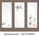 set of banners hand drawn in... | Shutterstock .eps vector #257124037