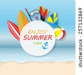 summer vacation background ... | Shutterstock .eps vector #257132869