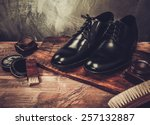 shoe care accessories on a... | Shutterstock . vector #257132887