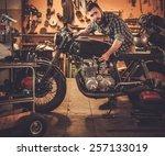 mechanic building vintage style ... | Shutterstock . vector #257133019