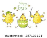 happy easter greeting card.... | Shutterstock . vector #257133121