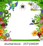 cute collection of insects in...