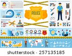 set of police work infographic... | Shutterstock .eps vector #257135185