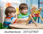 preschooler children boys play... | Shutterstock . vector #257137507
