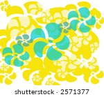 funky yellow and aqua hawaiian theme background design - stock photo