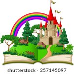 fairy castle appearing from the ... | Shutterstock .eps vector #257145097
