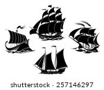 sailboats and sailing ships... | Shutterstock .eps vector #257146297