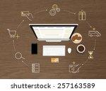 illustration of online shopping ... | Shutterstock . vector #257163589