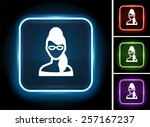 fashionable woman with glasses... | Shutterstock .eps vector #257167237