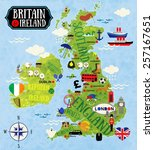 cartoon maps of britain and... | Shutterstock .eps vector #257167651