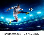soccer player in action on... | Shutterstock . vector #257173837