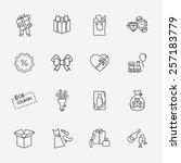 gift flat contour shop icon set ... | Shutterstock . vector #257183779
