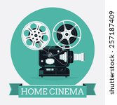 cool vector web icon on home... | Shutterstock .eps vector #257187409