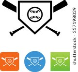 Home Plate Icon With Baseball...