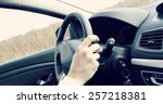 male driver hands holding... | Shutterstock . vector #257218381