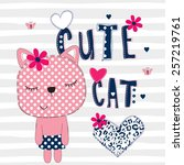 cute cat with heart on striped... | Shutterstock .eps vector #257219761