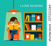 i love reading. man sits in a... | Shutterstock .eps vector #257221264