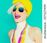 happy summer girl in trendy... | Shutterstock . vector #257227459