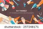 diy banner with people working... | Shutterstock .eps vector #257248171