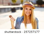 young beautiful woman in a... | Shutterstock . vector #257257177