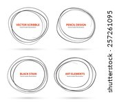 hand drawn scribble circles... | Shutterstock .eps vector #257261095