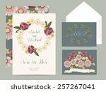 wedding set cards | Shutterstock .eps vector #257267041