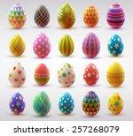 set of realistic eggs on white... | Shutterstock .eps vector #257268079