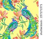 beautiful peacock pattern.... | Shutterstock .eps vector #257271571