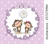 Greeting Card With Two Monkeys...