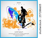 vector image of bmx cyclist | Shutterstock .eps vector #257288605