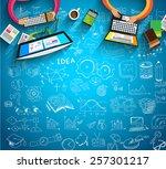 infographics teamwork with...   Shutterstock .eps vector #257301217