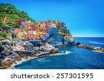 beautiful colorful cityscape on ... | Shutterstock . vector #257301595