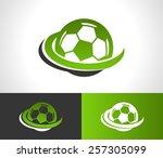 swoosh soccer ball logo icon | Shutterstock .eps vector #257305099