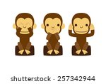 monkey illustration   speak no... | Shutterstock .eps vector #257342944