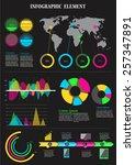 infographic element on black... | Shutterstock .eps vector #257347891