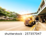 high speed truck  motion blur... | Shutterstock . vector #257357047