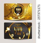 vip textured gold cards with... | Shutterstock .eps vector #257371171